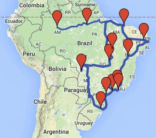 (Os doze destinos da Expedição: Petar - SP, Aparados da Serra - RS, Pantanal - MT, Chapada dos Veadeiros - GO, Jalapão - TO, Mamirauá - AM, Alter do Chão - PA, Lençóis Maranhenses - MA, Cariri - PB, Chapada Diamantina - BA, Itatiaia - MG, Saco do Mamanguá - RJ.)